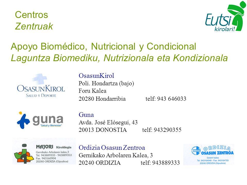 Centros Zentruak Apoyo Biomédico, Nutricional y Condicional Laguntza Biomediku, Nutrizionala eta Kondizionala OsasunKirol Poli. Hondartza (bajo) Foru