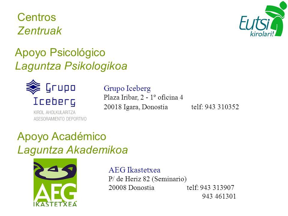 Centros Zentruak Grupo Iceberg Plaza Iribar, 2 - 1º oficina 4 20018 Igara, Donostia telf: 943 310352 Apoyo Psicológico Laguntza Psikologikoa Apoyo Aca