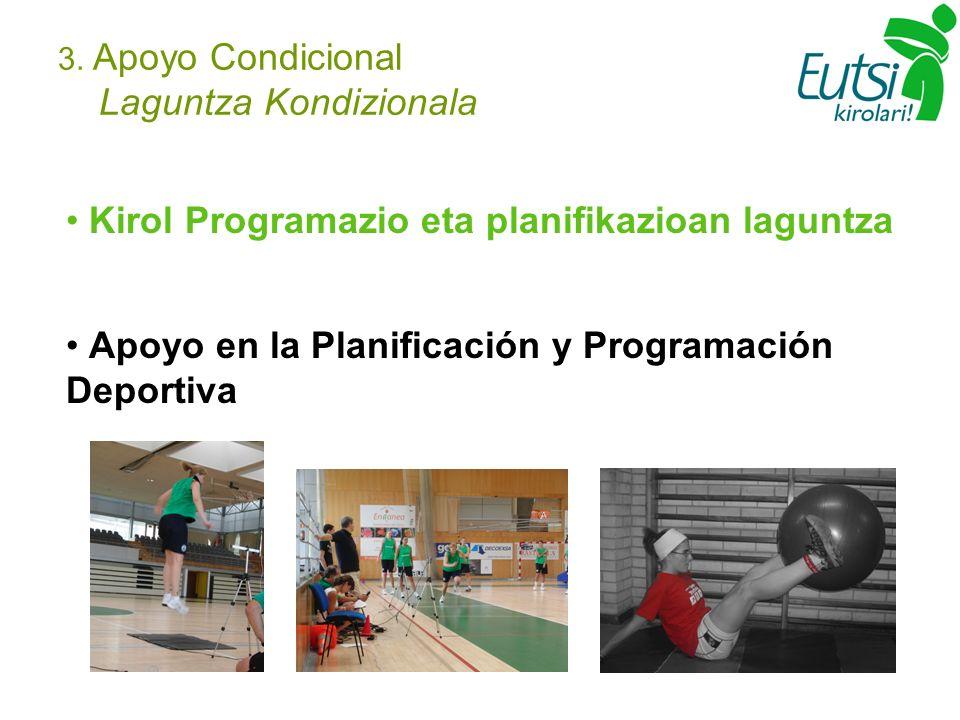 3. Apoyo Condicional Laguntza Kondizionala Kirol Programazio eta planifikazioan laguntza Apoyo en la Planificación y Programación Deportiva