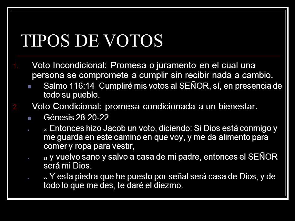 TIPOS DE VOTOS 1. Voto Incondicional: Promesa o juramento en el cual una persona se compromete a cumplir sin recibir nada a cambio. Salmo 116:14 Cumpl