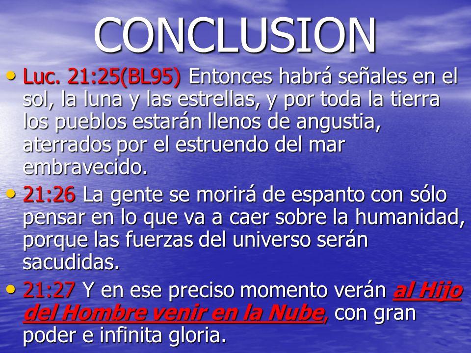 CONCLUSION Luc. 21:25(BL95) Entonces habrá señales en el sol, la luna y las estrellas, y por toda la tierra los pueblos estarán llenos de angustia, at