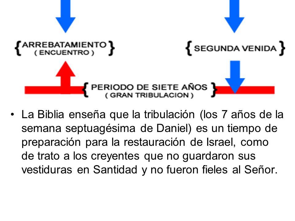 La Biblia enseña que la tribulación (los 7 años de la semana septuagésima de Daniel) es un tiempo de preparación para la restauración de Israel, como