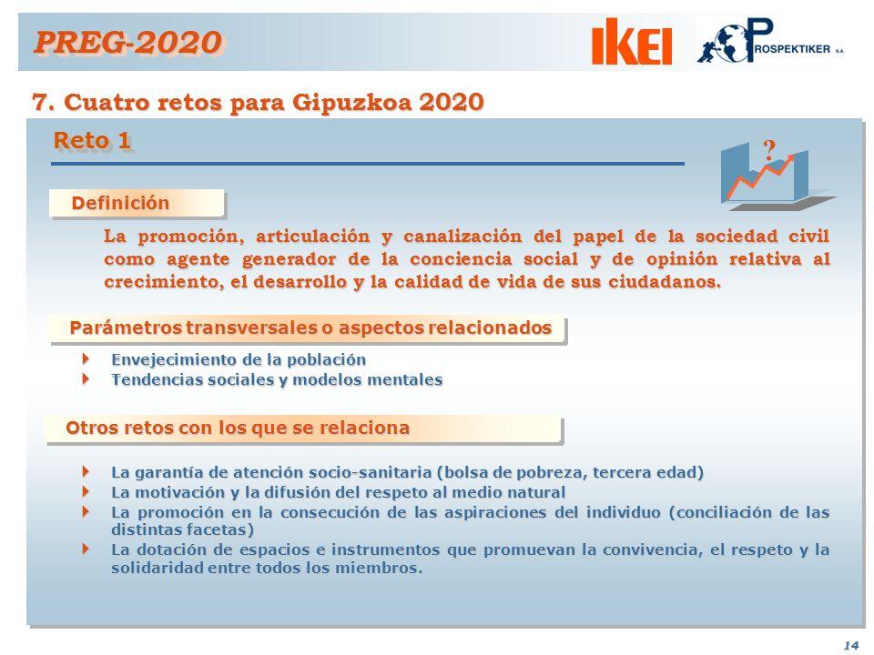 13 7. Cuatro retos para Gipuzkoa 2020 PREG-2020PREG-2020 Reto seleccionado a) definición b) justificación c) grado de coherencia d) parámetros transve