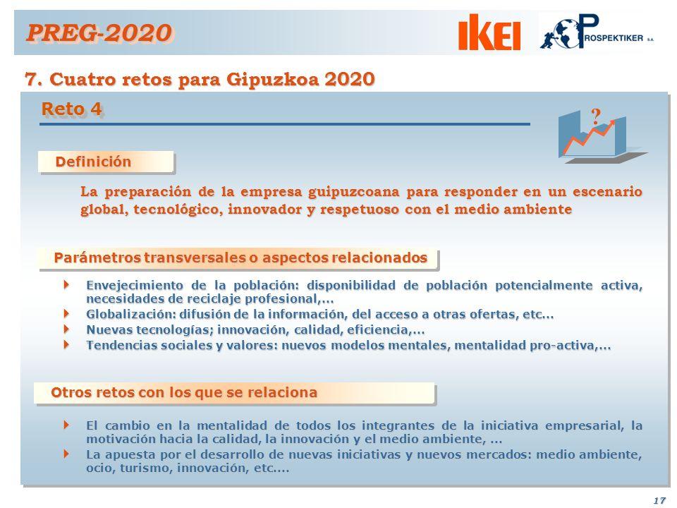 16 PREG-2020PREG-2020 7. Cuatro retos para Gipuzkoa 2020 Definición Definición La consecución de un espacio de calidad articulado y con las infraestru