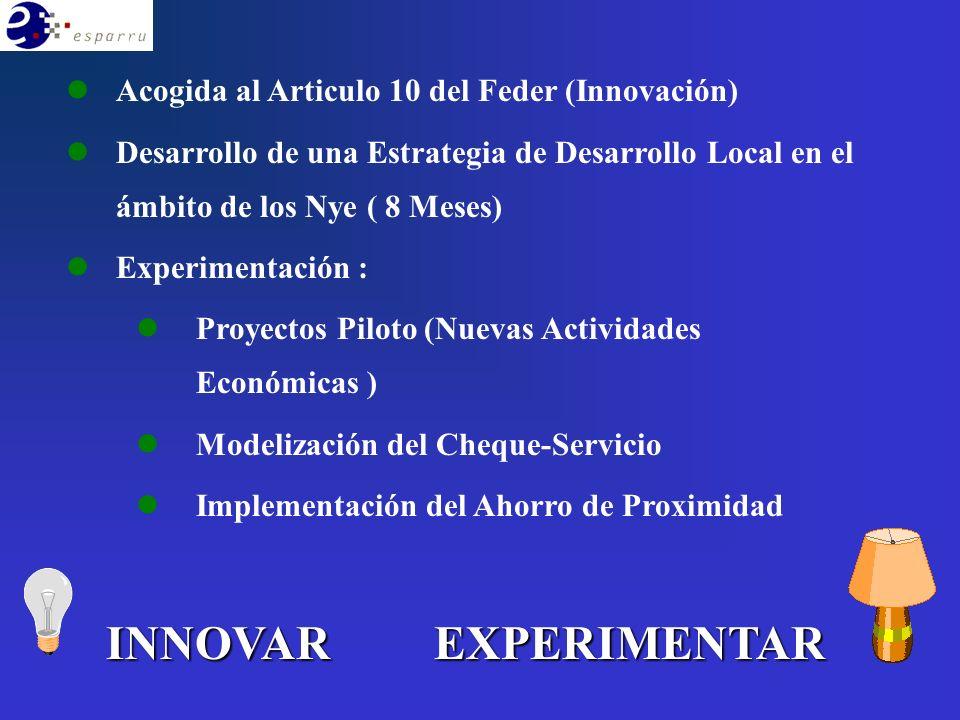 INNOVAREXPERIMENTAR l lAcogida al Articulo 10 del Feder (Innovación) l lDesarrollo de una Estrategia de Desarrollo Local en el ámbito de los Nye ( 8 Meses) l lExperimentación : l lProyectos Piloto (Nuevas Actividades Económicas ) l lModelización del Cheque-Servicio l lImplementación del Ahorro de Proximidad