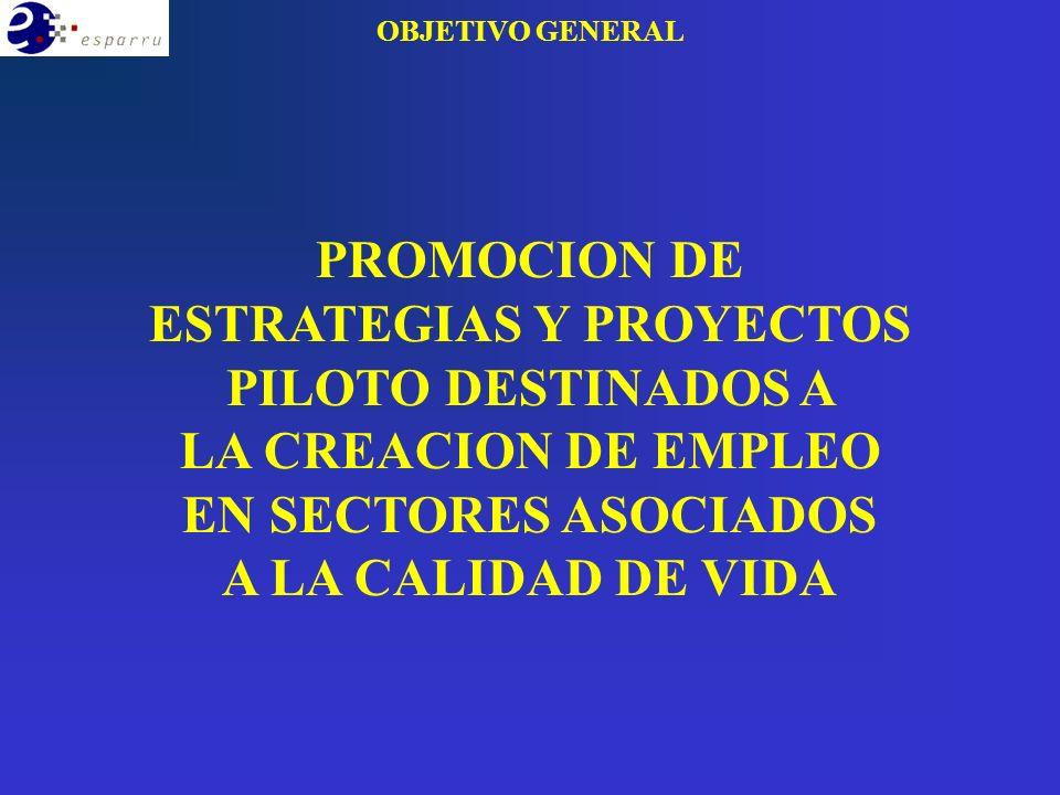 PROMOCION DE ESTRATEGIAS Y PROYECTOS PILOTO DESTINADOS A LA CREACION DE EMPLEO EN SECTORES ASOCIADOS A LA CALIDAD DE VIDA OBJETIVO GENERAL