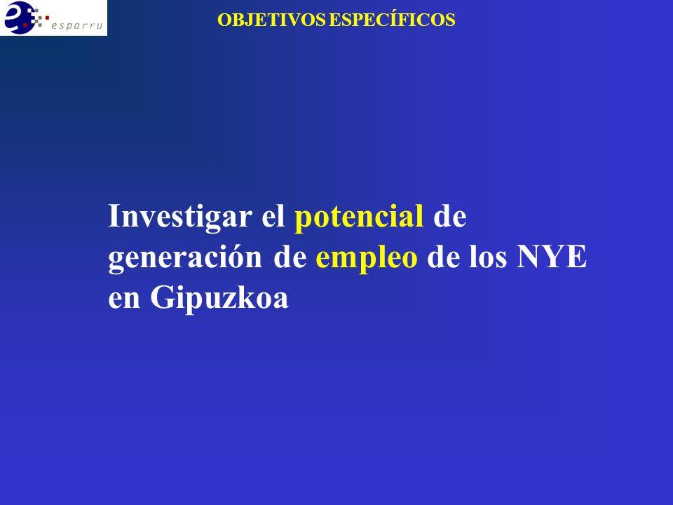 OBJETIVOS ESPECÍFICOS Investigar el potencial de generación de empleo de los NYE en Gipuzkoa