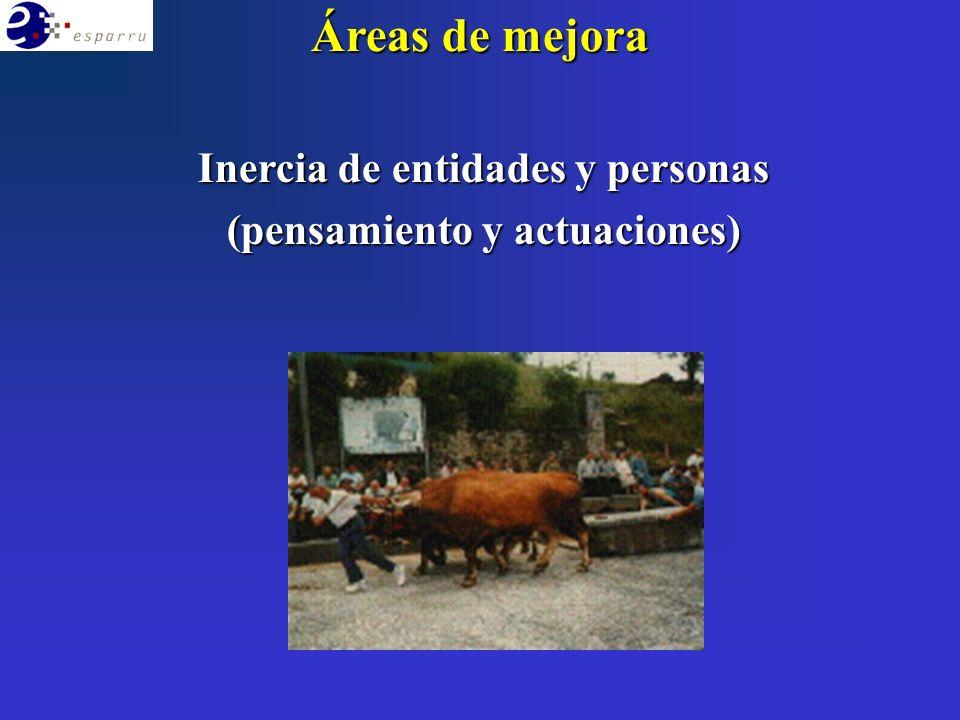 Áreas de mejora Inercia de entidades y personas (pensamiento y actuaciones)