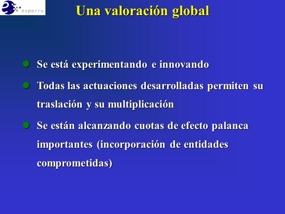 Una valoración global lSe está experimentando e innovando lTodas las actuaciones desarrolladas permiten su traslación y su multiplicación lSe están alcanzando cuotas de efecto palanca importantes (incorporación de entidades comprometidas)