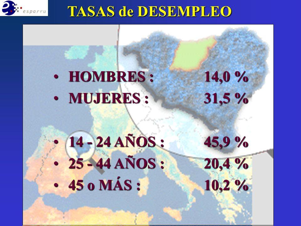 HOMBRES :14,0 % HOMBRES :14,0 % MUJERES : 31,5 % MUJERES : 31,5 % 14 - 24 AÑOS :45,9 % 14 - 24 AÑOS :45,9 % 25 - 44 AÑOS :20,4 % 25 - 44 AÑOS :20,4 % 45 o MÁS :10,2 % 45 o MÁS :10,2 % TASAS de DESEMPLEO