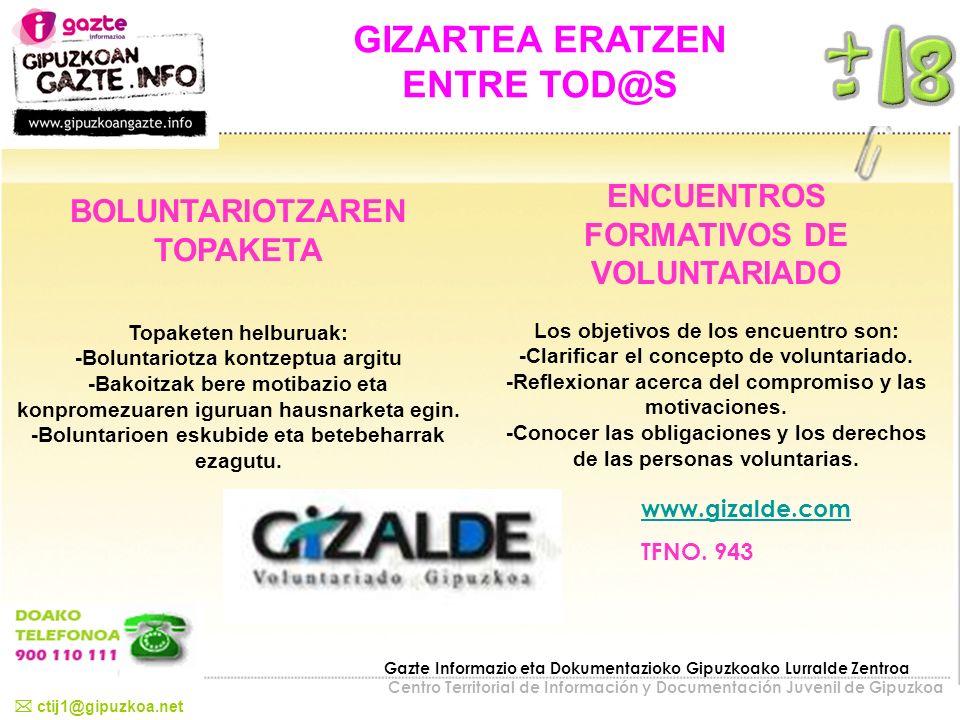 GIZARTEA ERATZEN ENTRE TOD@S ENCUENTROS FORMATIVOS DE VOLUNTARIADO Los objetivos de los encuentro son: -Clarificar el concepto de voluntariado. -Refle