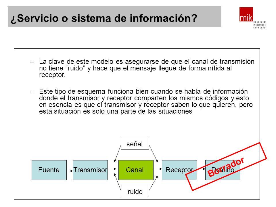 ¿Servicio o sistema de información? Destino –La clave de este modelo es asegurarse de que el canal de transmisión no tiene ruido y hace que el mensaje