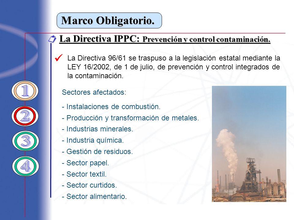 Marco Obligatorio. La Directiva IPPC: Prevención y control contaminación. La Directiva IPPC: Prevención y control contaminación. Sectores afectados: -