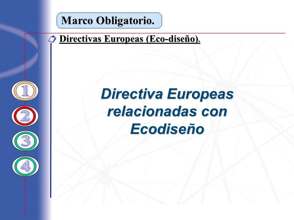 Marco Obligatorio. Directivas Europeas (Eco-diseño). Directivas Europeas (Eco-diseño). Directiva Europeas relacionadas con Ecodiseño