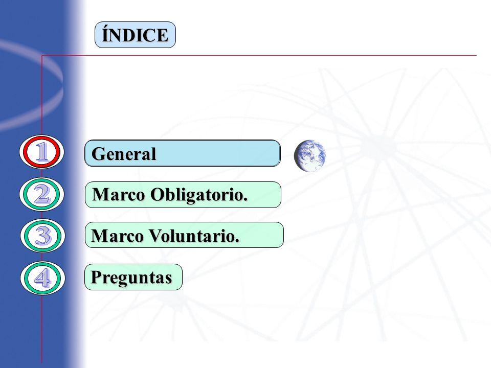 ÍNDICE Marco Obligatorio. Marco Voluntario. Preguntas General