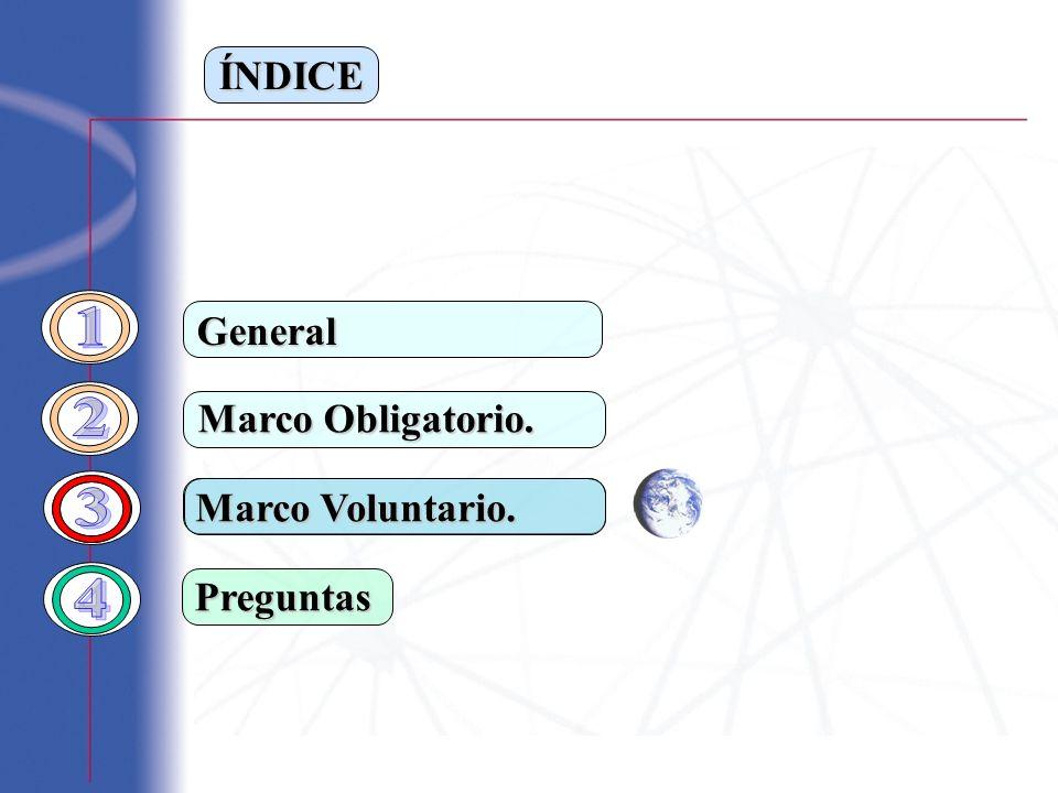 ÍNDICE Marco Obligatorio. Preguntas General Marco Voluntario.