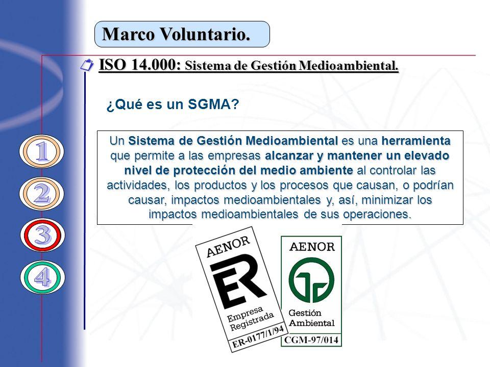 Marco Voluntario. ISO 14.000: Sistema de Gestión Medioambiental. ISO 14.000: Sistema de Gestión Medioambiental. ¿Qué es un SGMA? Un Sistema de Gestión