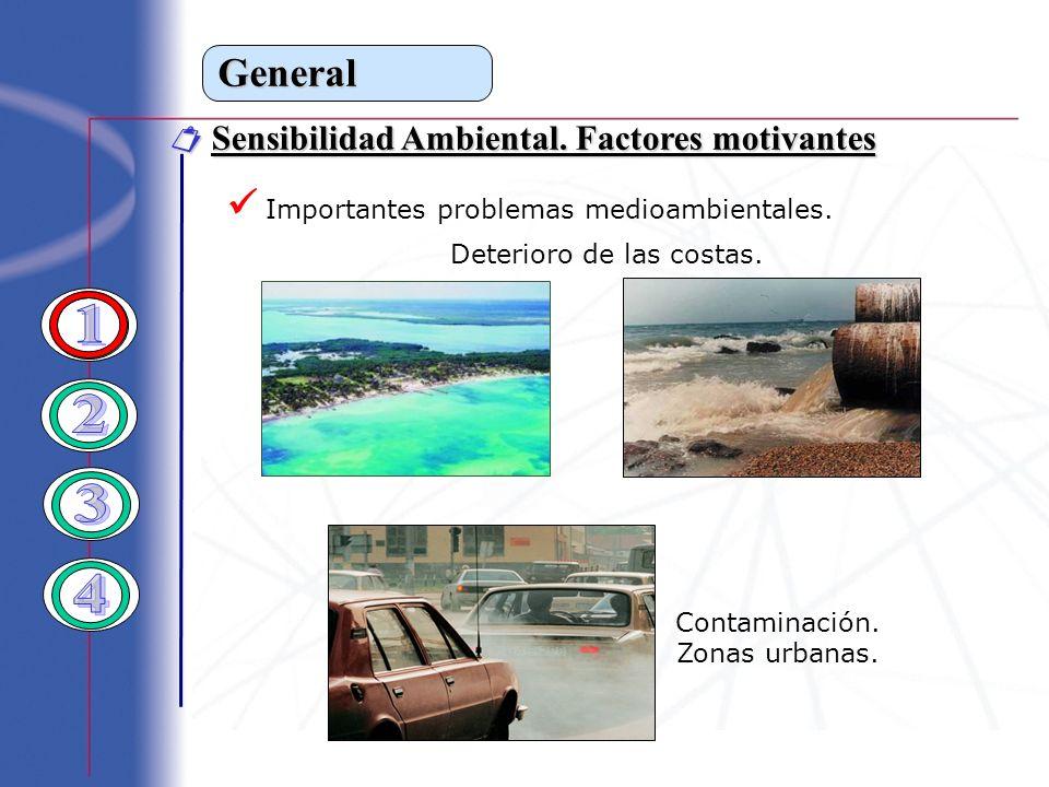 General Sensibilidad Ambiental. Factores motivantes Sensibilidad Ambiental. Factores motivantes Importantes problemas medioambientales. Deterioro de l