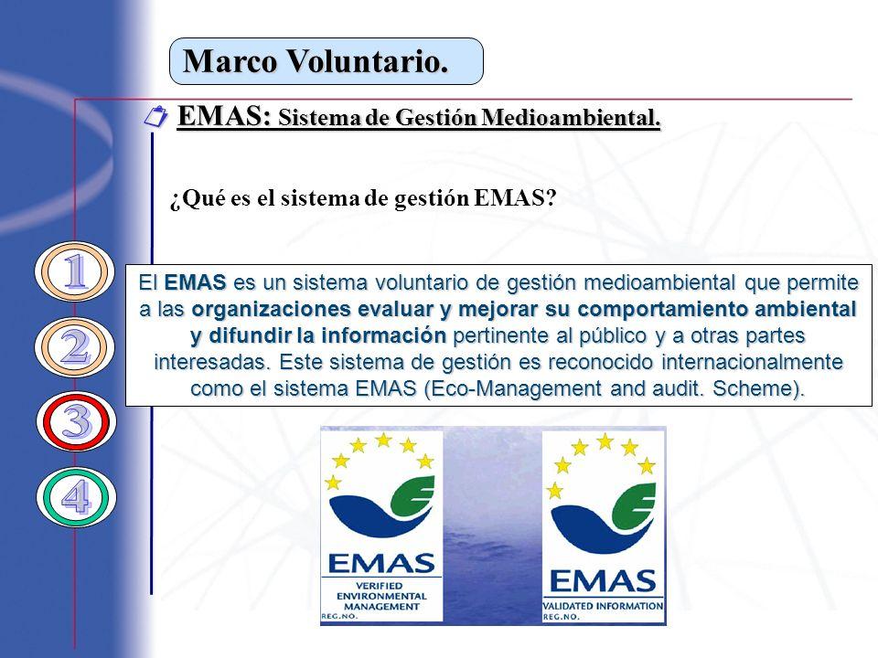 Marco Voluntario. EMAS: Sistema de Gestión Medioambiental. EMAS: Sistema de Gestión Medioambiental. ¿Qué es el sistema de gestión EMAS? El EMAS es un