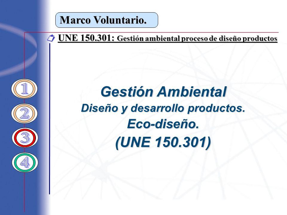 Marco Voluntario. Gestión Ambiental Diseño y desarrollo productos. Eco-diseño. (UNE 150.301) UNE 150.301: Gestión ambiental proceso de diseño producto