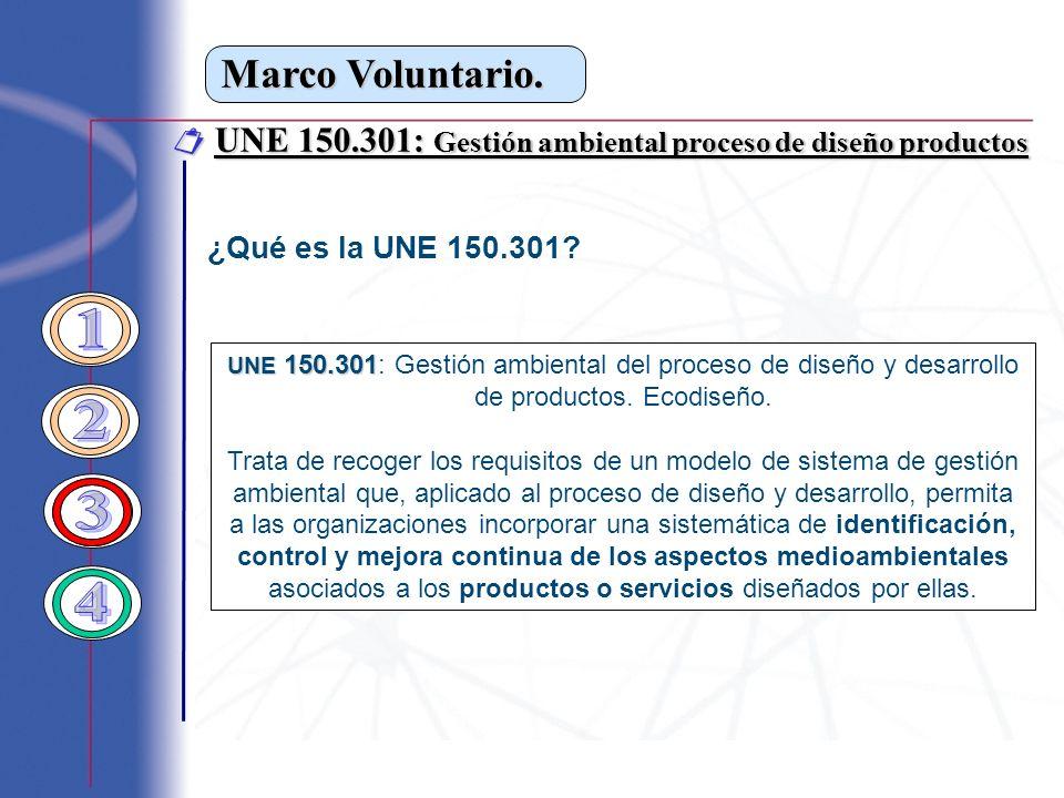 Marco Voluntario. UNE 150.301: Gestión ambiental proceso de diseño productos UNE 150.301: Gestión ambiental proceso de diseño productos ¿Qué es la UNE