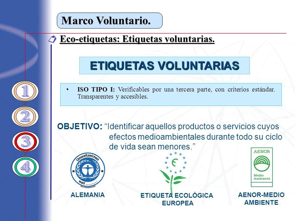Marco Voluntario. Eco-etiquetas: Etiquetas voluntarias. Eco-etiquetas: Etiquetas voluntarias. ISO TIPO I:ISO TIPO I: Verificables por una tercera part