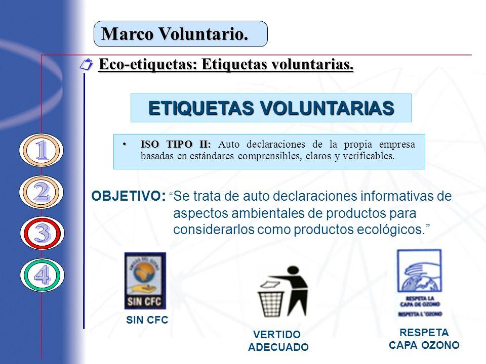 Marco Voluntario. Eco-etiquetas: Etiquetas voluntarias. Eco-etiquetas: Etiquetas voluntarias. ETIQUETAS VOLUNTARIAS ISO TIPO II:ISO TIPO II: Auto decl