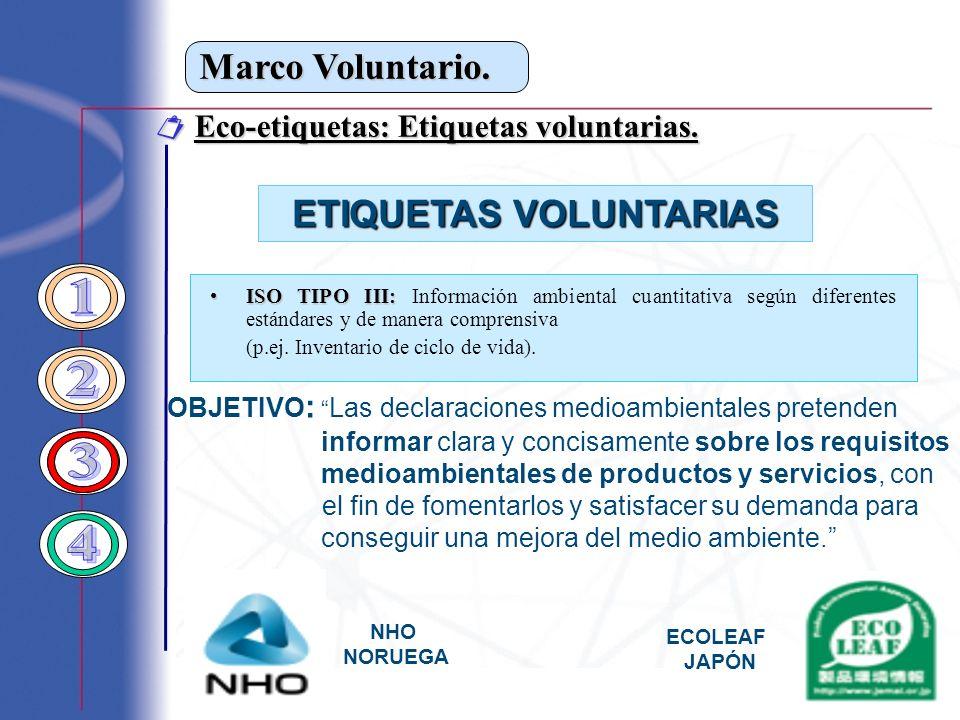 Marco Voluntario. Eco-etiquetas: Etiquetas voluntarias. Eco-etiquetas: Etiquetas voluntarias. ETIQUETAS VOLUNTARIAS ISO TIPO III:ISO TIPO III: Informa
