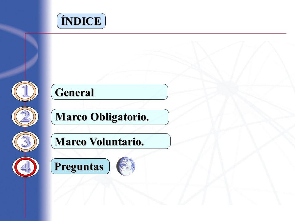 ÍNDICE Marco Obligatorio. Marco Voluntario. General Preguntas