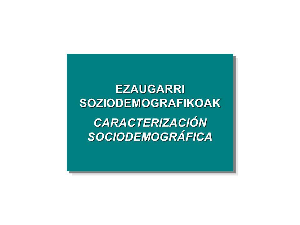 EZAUGARRI SOZIODEMOGRAFIKOAK CARACTERIZACIÓN SOCIODEMOGRÁFICA