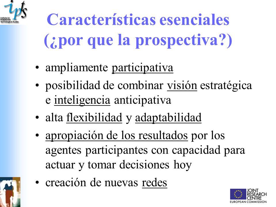 Características esenciales (¿por que la prospectiva?) ampliamente participativa posibilidad de combinar visión estratégica e inteligencia anticipativa