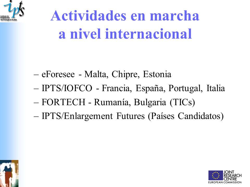 Actividades en marcha a nivel internacional –eForesee - Malta, Chipre, Estonia –IPTS/IOFCO - Francia, España, Portugal, Italia –FORTECH - Rumanía, Bul