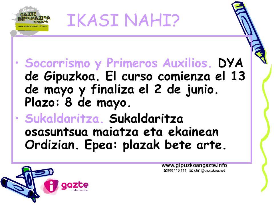 IKASI NAHI. Socorrismo y Primeros Auxilios. DYA de Gipuzkoa.