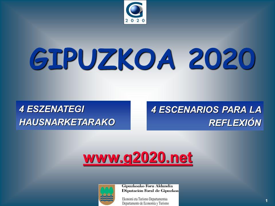 1 GIPUZKOA 2020 4 ESZENATEGI HAUSNARKETARAKO 4 ESCENARIOS PARA LA REFLEXIÓN www.g2020.net