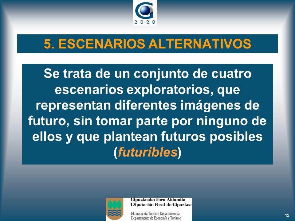 15 Se trata de un conjunto de cuatro escenarios exploratorios, que representan diferentes imágenes de futuro, sin tomar parte por ninguno de ellos y q