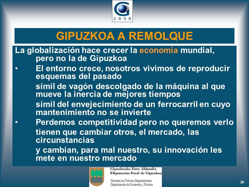 26 GIPUZKOA A REMOLQUE La globalización hace crecer la economía mundial, pero no la de Gipuzkoa El entorno crece, nosotros vivimos de reproducir esque