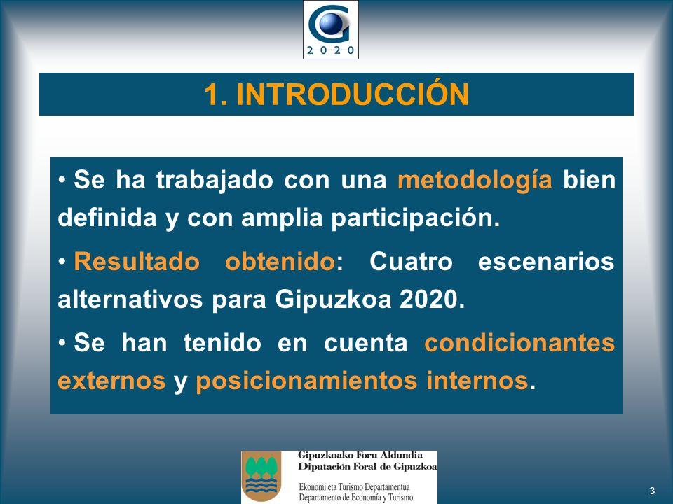 3 1. INTRODUCCIÓN Se ha trabajado con una metodología bien definida y con amplia participación. Resultado obtenido: Cuatro escenarios alternativos par