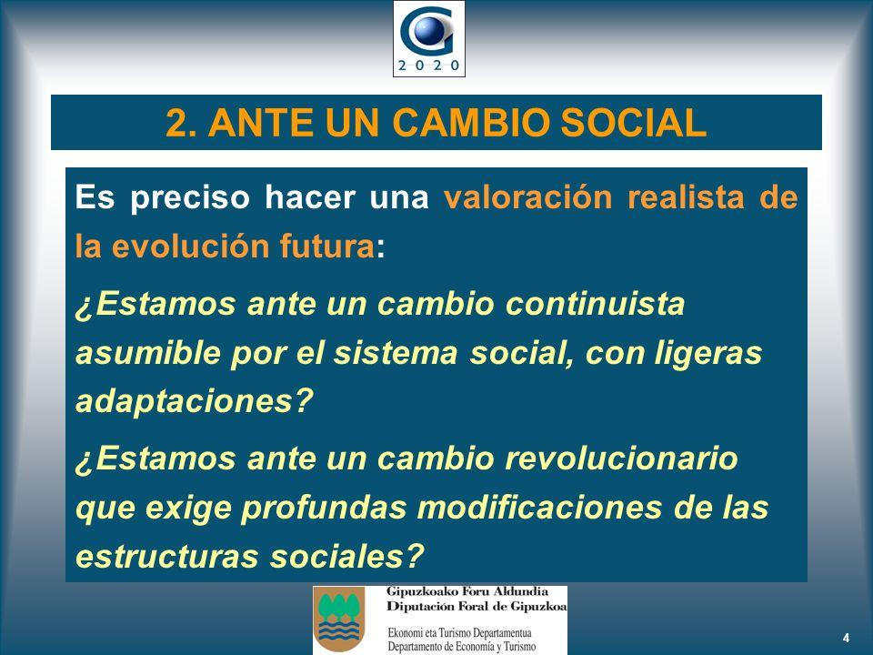 4 2. ANTE UN CAMBIO SOCIAL Es preciso hacer una valoración realista de la evolución futura: ¿Estamos ante un cambio continuista asumible por el sistem