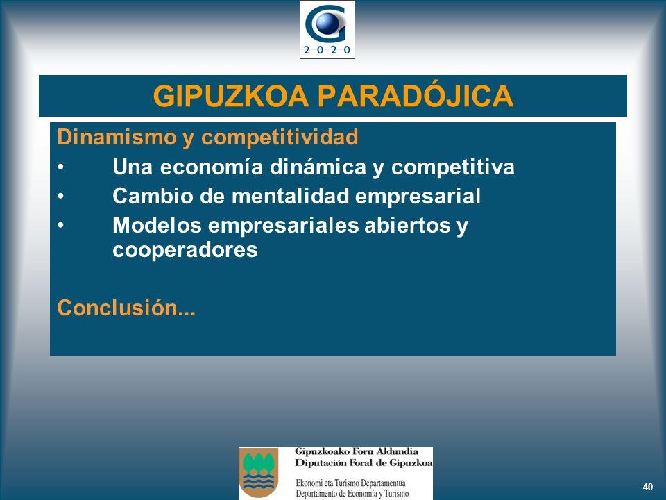 40 GIPUZKOA PARADÓJICA Dinamismo y competitividad Una economía dinámica y competitiva Cambio de mentalidad empresarial Modelos empresariales abiertos