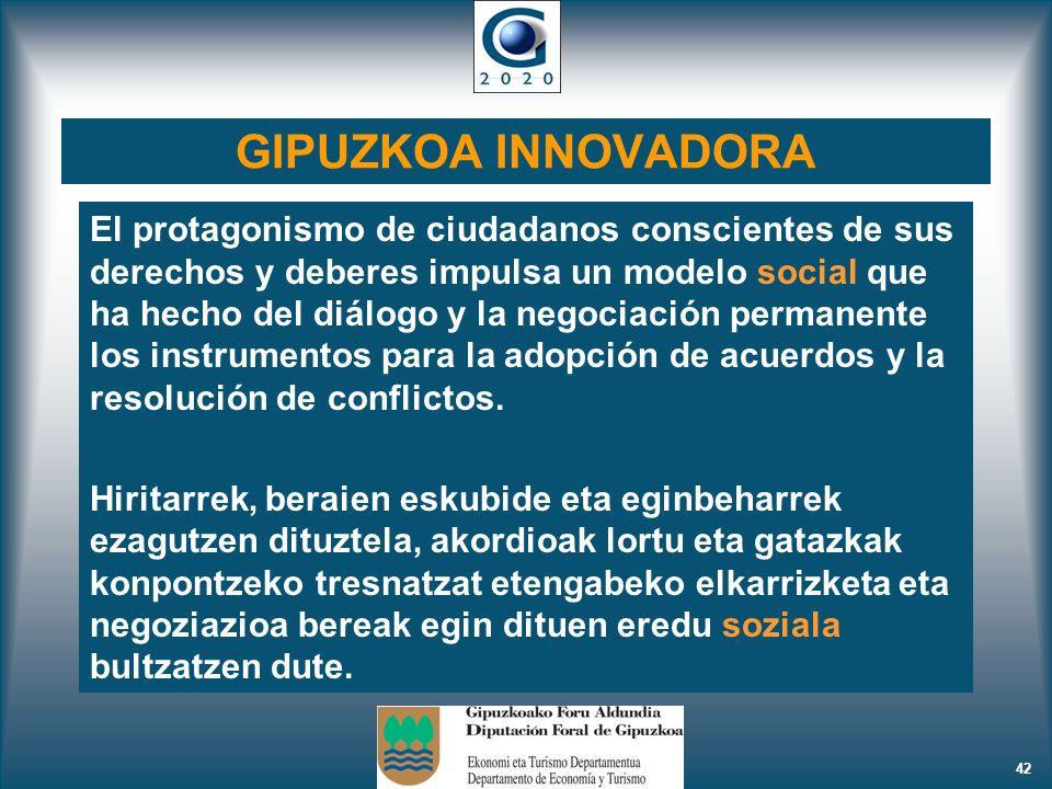 42 GIPUZKOA INNOVADORA El protagonismo de ciudadanos conscientes de sus derechos y deberes impulsa un modelo social que ha hecho del diálogo y la nego