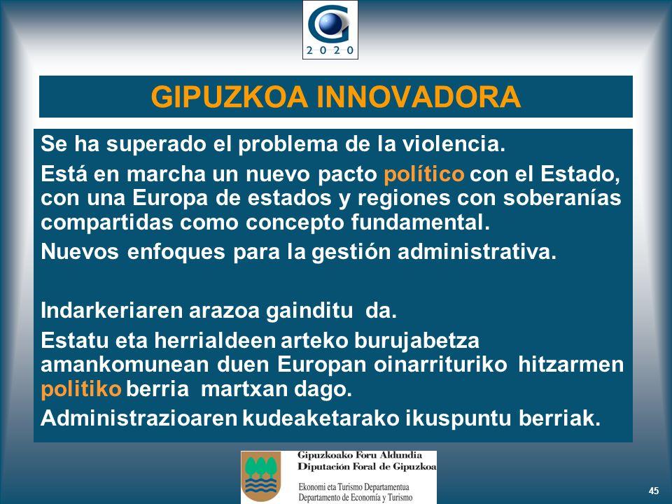 45 GIPUZKOA INNOVADORA Se ha superado el problema de la violencia. Está en marcha un nuevo pacto político con el Estado, con una Europa de estados y r