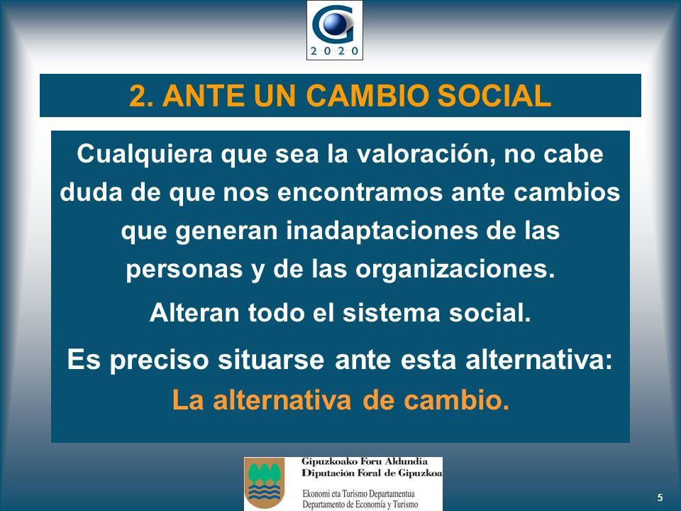 5 2. ANTE UN CAMBIO SOCIAL Cualquiera que sea la valoración, no cabe duda de que nos encontramos ante cambios que generan inadaptaciones de las person