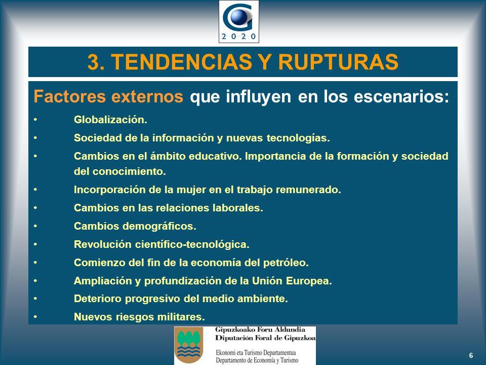 6 3. TENDENCIAS Y RUPTURAS Factores externos que influyen en los escenarios: Globalización. Sociedad de la información y nuevas tecnologías. Cambios e