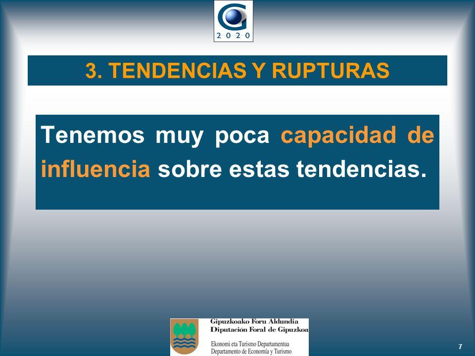 7 3. TENDENCIAS Y RUPTURAS Tenemos muy poca capacidad de influencia sobre estas tendencias.