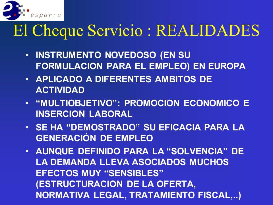 El Cheque Servicio : REALIDADES INSTRUMENTO NOVEDOSO (EN SU FORMULACION PARA EL EMPLEO) EN EUROPA APLICADO A DIFERENTES AMBITOS DE ACTIVIDAD MULTIOBJETIVO: PROMOCION ECONOMICO E INSERCION LABORAL SE HA DEMOSTRADO SU EFICACIA PARA LA GENERACIÓN DE EMPLEO AUNQUE DEFINIDO PARA LA SOLVENCIA DE LA DEMANDA LLEVA ASOCIADOS MUCHOS EFECTOS MUY SENSIBLES (ESTRUCTURACION DE LA OFERTA, NORMATIVA LEGAL, TRATAMIENTO FISCAL,..)
