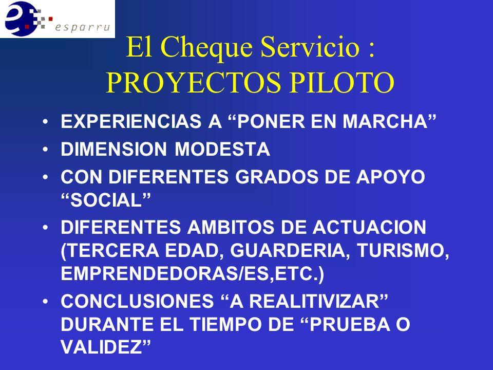 El Cheque Servicio : PROYECTOS PILOTO EXPERIENCIAS A PONER EN MARCHA DIMENSION MODESTA CON DIFERENTES GRADOS DE APOYO SOCIAL DIFERENTES AMBITOS DE ACTUACION (TERCERA EDAD, GUARDERIA, TURISMO, EMPRENDEDORAS/ES,ETC.) CONCLUSIONES A REALITIVIZAR DURANTE EL TIEMPO DE PRUEBA O VALIDEZ