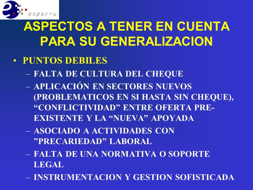 ASPECTOS A TENER EN CUENTA PARA SU GENERALIZACION PUNTOS DEBILES –FALTA DE CULTURA DEL CHEQUE –APLICACIÓN EN SECTORES NUEVOS (PROBLEMATICOS EN SI HASTA SIN CHEQUE), CONFLICTIVIDAD ENTRE OFERTA PRE- EXISTENTE Y LA NUEVA APOYADA –ASOCIADO A ACTIVIDADES CON PRECARIEDAD LABORAL –FALTA DE UNA NORMATIVA O SOPORTE LEGAL –INSTRUMENTACION Y GESTION SOFISTICADA