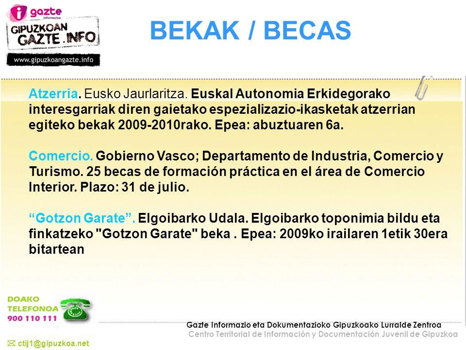 BEKAK / BECAS Atzerria. Eusko Jaurlaritza. Euskal Autonomia Erkidegorako interesgarriak diren gaietako espezializazio-ikasketak atzerrian egiteko beka