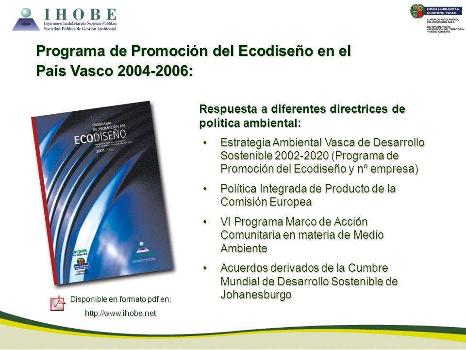 Disponible en formato pdf en: http://www.ihobe.net Programa de Promoción del Ecodiseño en el País Vasco 2004-2006: Estrategia Ambiental Vasca de Desar