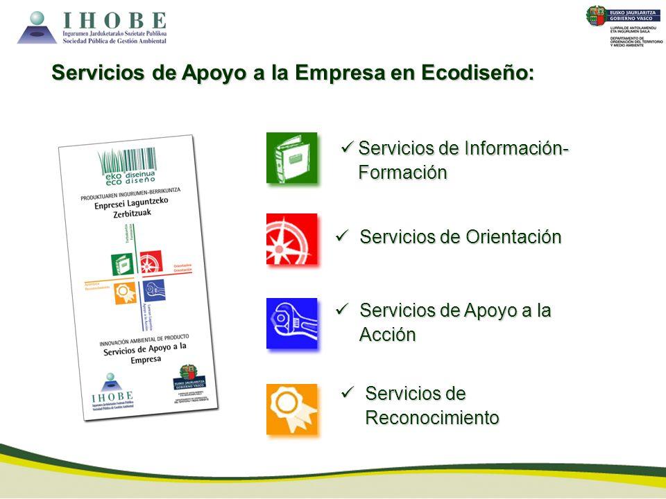 Servicios de Información- Formación Servicios de Información- Formación Servicios de Apoyo a la Empresa en Ecodiseño: Servicios de Orientación Servici